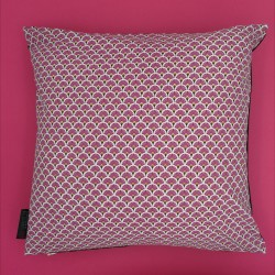 Coussin en SHUNGITEX® 40 x 40 cm motif éventails magenta de Catalogue Shungite